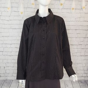 Apostrophe Black and Silver Striped Button Down
